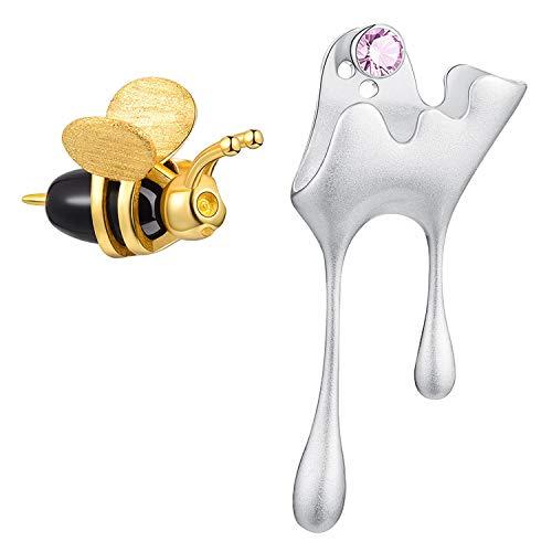 ♥ Regalo para Navidad♥ JIANGYUYAN S925 Pendientes de plata esterlina Abejas y miel de goteo Pendientes asimétricos de botón Joyas para mujeres y niñas.(Silver-Style1)