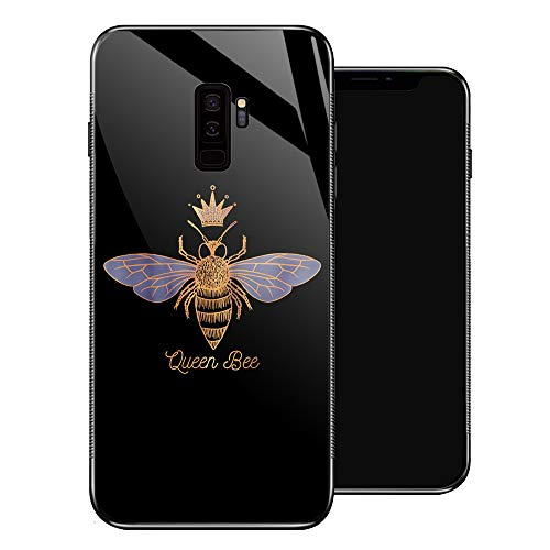 Samsung Galaxy S9 Plus Cases,Tempered Glass Pattern Design Back Cover[Shock Absorption]Soft TPU Bumper Frame Support Cool Creative Fashoin Case for Samsung Galaxy S9 Plus-Queen Bee Golden Crown Simple