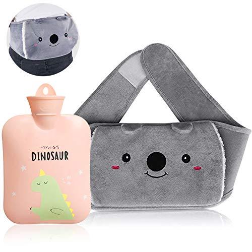 Wärmflasche, Wärmflasche mit Bezug,Taille Hot Water Bottle,Bauch Wärmflasche,Taille Wärmflaschen,1000ml Wärmflasche Kinder,Bauch Warmwasserbeutel,Schmerzlinderung Komfort für Bauch und Rücken