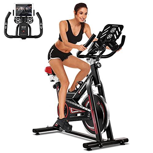 CosHall Indoor Heimtrainer Speedbike Spinning Bike Fahrrad einstellbares Workout-Bike,Cycling Hometrainer für Fitness ,Cycle Bike mit Pulsmesser,LCD Display, Stahlschwungrad,Kardio Training bis 330LBS