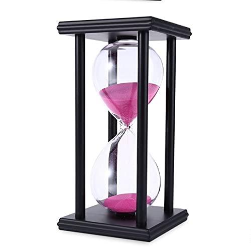 Temporizador de arena de 60 minutos para escuela moderna hora de madera horas arena reloj de arena temporizador de té decoración para la casa regalo (color: negro rosa, hora: 60 mins)
