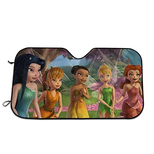 Disney Fairy - Parasol para parabrisas de coche, diseño de 70 x 130 cm, diseño de acordeón, plegable, antideslumbrante, bloquea la radiación UV y protege el interior para mantener tu vehículo fresco