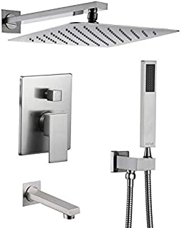 Esnbia Shower System, Brushed Nickel Shower Faucet Set with Tub Spout and 10