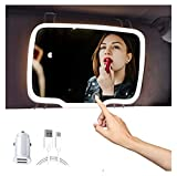 [Upgraded Version] Rechargeable Car Visor Vanity Mirror with Stepless Adjustable LED Lights, Car Makeup Mirror for Car Truck SUV Rear View Mirror (Black)