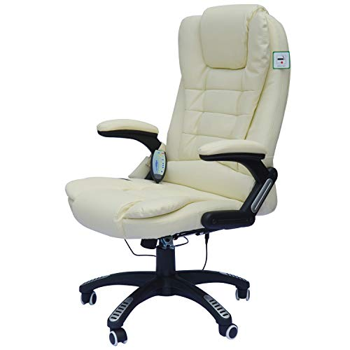 HomCom High Back Faux Leather Adjustable Heated Executive Massage Office Chair - Cream White