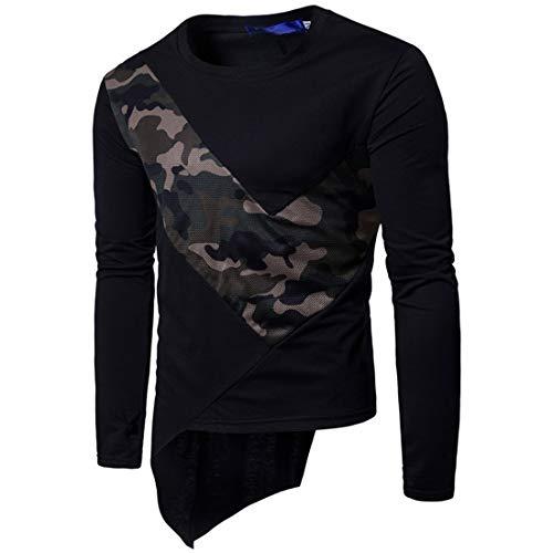 Men T-Shirt Men Hoodie Round Neck Comfortable Casual Slim Fit Men T-Shirt Autumn Elastic Fiber Comfortable Light Breathable Long Sleeve Simplicity Men Sweatshirt G-Black M