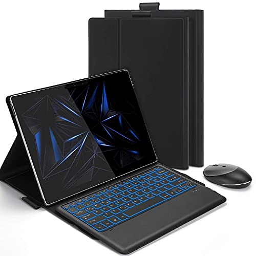 Backlight Keyboard Case with 2.4G + Bluetooth Mouse for Microsoft Surface Pro 4/5 / 6/7, Removable Rechargeable Keyboard US Layout and Mice for Microsoft Surface pro 4/5 / 6/7