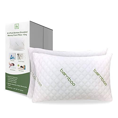 ik Almohada de bambú (2 unidades) – Almohadas premium para dormir – Almohada de espuma viscoelástica triturada con funda de almohada lavable – Loft ajustable – (King – 2 unidades)