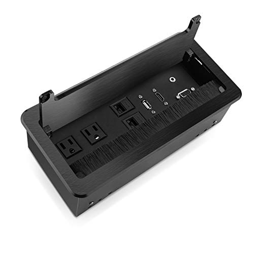 Zeshan Table Power Connectivity Box for Conference Desktop Black with Power Socket, USB, HDMI, RJ45 and Audio