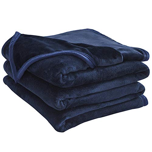 "LIANLAM Queen Size Fleece Blanket Lightweight Super Soft and All Season Warm Fuzzy Plush Cozy Luxury Bed Blankets Microfiber (Royal Blue, 90""x90"")"