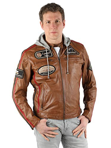 "BIG.7 Lederjacke Herren Echtleder mit Kapuze, braun, Biker Lederjacke ""Franko"" Herren, Motorradjacke Herren mit Protektoren, Motorcycle Leather Jacket for Men"