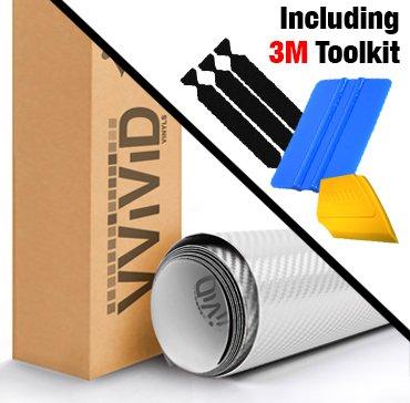 VViViD White Carbon Fiber Automotive Vinyl Wrap Film w/ 3M Toolkit (1ft x 5ft)