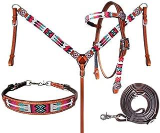Showman Beaded Tribal 4 Piece Headstall & Breast Collar Set