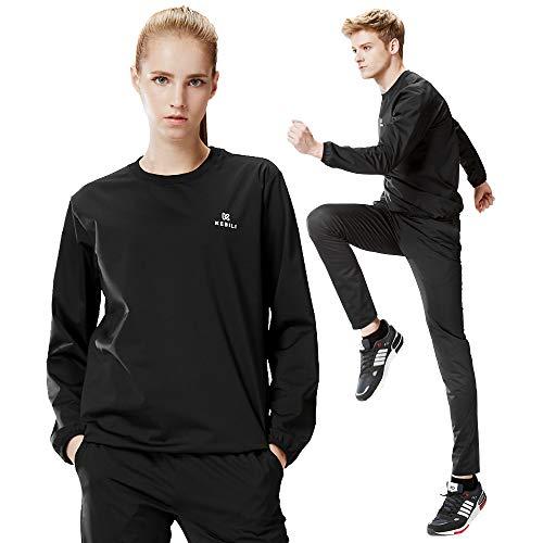 KEBILI Sauna Suit Women Weight Loss Gym Fitness Exercise Workout Sweat Training Hot Fat Men (Black Round Suit, Top - L/Pants - L)