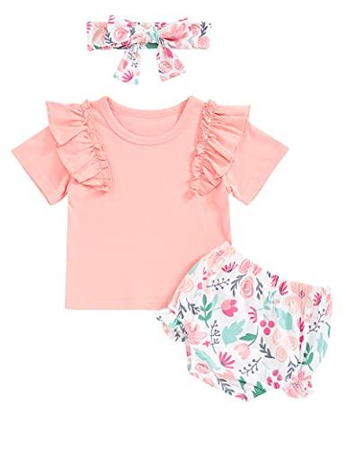 Conjunto de ropa de bebé para niña, pelele de manga larga, con pantalones y cinta para la cabeza, 3 piezas para niños pequeños Rosa corto. 6-9 Meses
