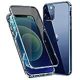 RAYOO Anti-pío Funda para iPhone 12 Pro MAX,360 Grados Carcasa con Anti-Spy Protector de Pantalla,Adsorción Magnética Marco Protector Metal Anti Peep Privacy Case Cover,Transparente Azul