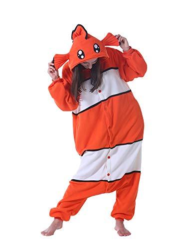 Pijama Animal Entero Unisex para Adultos con Capucha Cosplay Pyjamas Ropa de Dormir Traje de Disfraz para Festival de Carnaval Halloween Navidad Clownfisch S(148-155CM)