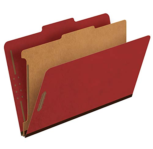 """Pendaflex Recycled Classification File Folders, 1 Divider, 2"""" Embedded Fasteners, 2/5 Tab Cut, Legal Size, Red, Box of 10 (28775R)"""