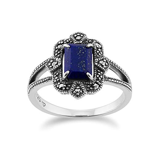 925 Sterling Silver Art Deco Lapiz Lazuli & Marcasite Ring