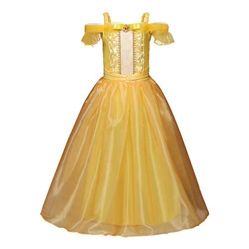 YWLINK Vestido De Fiesta De NiA De 3-7 AOs Manga Corta Camisola del Hombro Vestido De Princesa Cosplay Falda Larga Concurso De Belleza Fiesta De Bodas Disfraz Danza Vestido(Amarillo,3-4 aos/110)