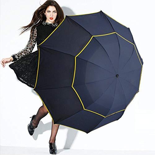 Parasol Parapluie 130 Cm Double Laye Parapluie Pluie Femmes 3 Pliant Forte Coupe-Vent Grand Parapluie Hommes Qualité Revêtement Noir 10 K Portable Parapluies Bleu