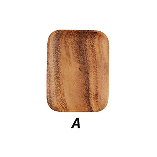 Japanse acacia massief houten dienblad diner cd koffie thee dienblad fruit brood voedsel dessert ontbijtbord vierkante rechthoek servies, een 16.5x12.5cm