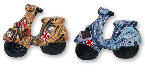 HUCHA cerámica MOTOCICLETA scooter motivos Británicos. 20 cm. Azul o Marrón. 1 unidad
