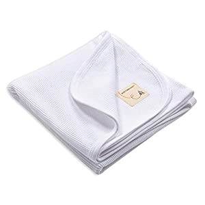 Burt's Bees Baby – Receiving Blanket, 100% Organic Cotton Swaddle, Stroller or Tummy Time Blanket (Cloud White)