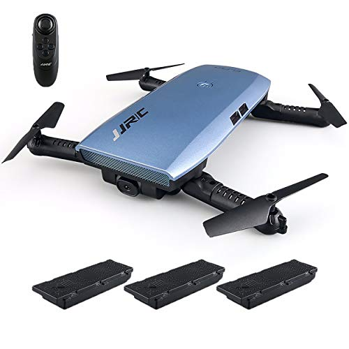 Trendy Techies JJRC H47 HD Camera Foldable Quadcopter Drone 3.7V 500mAh 6 Axis Headless Mode Remote Control Altitude Hold 360 Flips and Rolls Easy to Use (2 Extra Batteries) Kids Adults