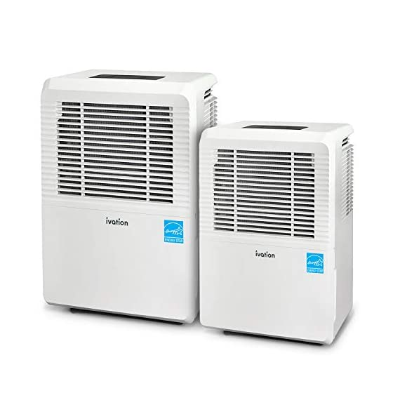 Ivation 1,500 Sq Ft Energy Star Dehumidifier - Large-Capacity - Includes Programmable Humidistat, Hose Connector, Auto… 3 This Compressor Dehumidifier Keeps Spaces Up to 4500 Sq. Ft. Cool & Comfortable by Removing 50 Pints of Moisture/Day (70 Pint according to the old DOE standards, in 2019 this was classified as 70 pint and it now needs to be classified as 50 pint but IT REMOVED THE SAME MOISTURE AS THE OLD 70 PINT) Built-In Humidity Sensor - The LCD accurately displays the current humidity level in the room, enabling you to set your ideal levels for automatic moisture controlAllergens & Odors for Healthy Air Low Maintenance & Easy Operation; Simply Plug-In, Select Settings & Empty 1.3 Gallon Reservoir