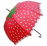 PZXY Regenschirm Erwachsener Mode Sonnenschirm automatische Erdbeere gerade Bar Auswirkungen Tuch Regenschirm