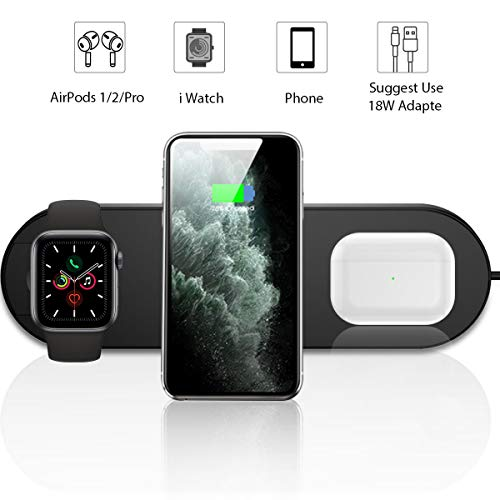 Leshi Draadloze oplader, 3 in 1 Qi 15W snellaadstation voor Apple iWatch serie 5/4/3/2/1, AirPods, laadstation standaard compatibel met iPhone 11 serie/XS MAX/XR/XS/X/8/8 Plus/Samsung