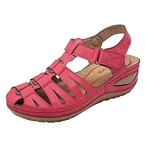 Luckycat Sandalias de TacóN con Pendiente Romana con Velcro para Mujer Sandalias Cómodas de Color SóLido Retro Huecas Informales de Verano Zapatos para Caminar