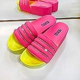 Ririhong Zapatillas de Diamantes de Colores Brillantes para Mujer, Verano, Suela Gruesa, Ropa Exterior, Sandalias con Chanclas de Moda de Gran tamaño-Rose_Red_37