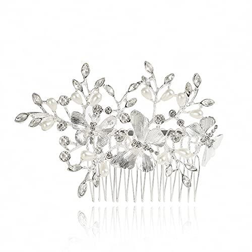 Logo WLYX Mariée Fleur Peigne Strass Headpiece Nuptiale de Mariage Accessoires de Cheveux for Les Femmes et Les Filles (Color : Silver)