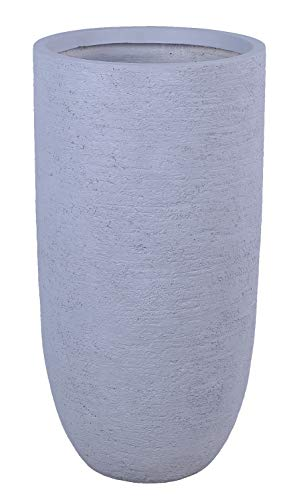 FJYAYUAN Large Size Grey Skyline Lightweight Taper Tall Round Concrete Planter Pots | Unique Design | Handicraft | UV-Resistant and Eco-Friendly | Blind Drainage Hole (14''x14''xH28') GA30-2301-2