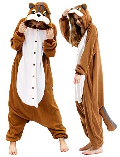 vavalad Adult Squirrel Pajamas Onesie Cosplay Animal Homewear Halloween Costume Women Men
