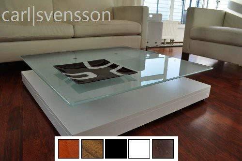 Carl Svensson Design Couchtisch Glas Tisch V-570 / V-570H Milchglas/getöntes Glas (V-570 Weiß mit Milchglas)