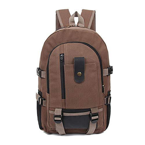 yaojun Outdoor Backpack Retro Backpack Men's Outdoor Riding Hiking Bag Casual Canvas Bag Female Fashion Trend Large Capacity Computer Bag (Color : Brown)