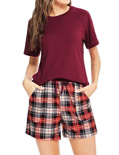 Aibrou Conjuntos de Pijama, Pijama de Cuadros Mujer Conjunto Camiseta y Pantalones a Cuadros Pijama Corta Mujer Elegante Manga Corta Suave Pijama Mujer 2 Piezas Vino Tinto XXL