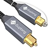 Optical Audio Cable 6ft - Suplong Digital Optical Audio Toslink Cable [24K Gold-Plated, Nylon Braided]Fiber Optic Cable for [S/PDIF] LG/Samsung/Sony/Philips Sound Bar,Smart TV,Home Theater,PS4,Xbox