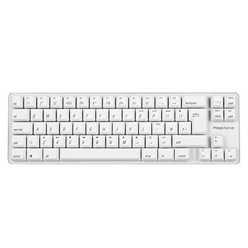 Qisan Kabelgebundene mechanische Gaming-Tastatur PBT-Tastenkappen 69 Tasten Gateron Brown Switch Weißes beleuchtetes UK QWERTY Layout Gaming-Tastatur-Weiß