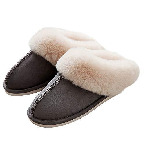 Plüsch Pantoffeln Slip-on Wildleder Wärme Comfy Winter Hausschuhe für Frauen und Männer Hellgrau EU39/40