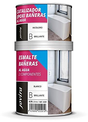 ESMALTE BAÑERAS,SANITARIOS ALTO BRILLO, Al agua, Restauración y renovación de sanitarios, bañeras, cerámica, azulejos (750 ml, BLANCO)