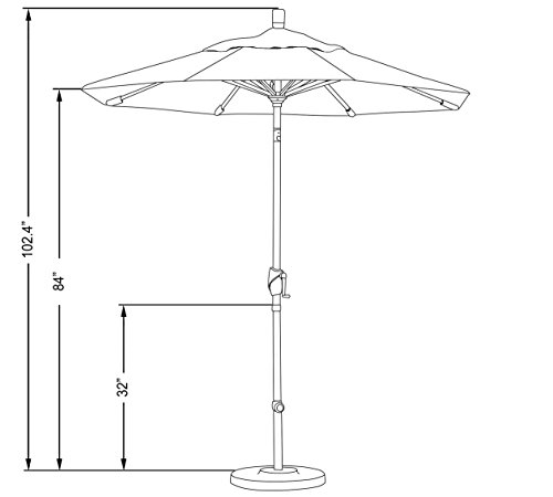 California Umbrella GSPT758117-F27 7.5' Round Aluminum Market, Crank Lift, Push Button Tilt, Bronze Pole, Olefin Sunset Patio Umbrella, Canvas