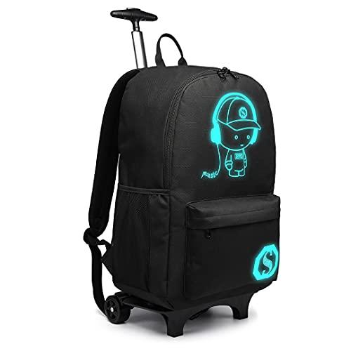 Kono Anime Luminoso Valigie per bambini Zaino impermeabile per laptop con ruote girevoli Zaino scuola Trolley con Ruote Borsa da Cabina 30L (Nero)