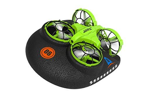 Mini Drone, Kids Toy Flying Toys RC Boats for Pools and Lakes, Remote Control Car for Kids, Sea-Land-Air Mode Switchable Hovercraft RC Quadcopter Helicopter Gifts for Boys Girls (Green)