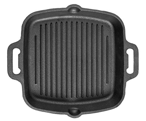 Mr. Butler Cast Iron Grill Pan with Double Handle, Pre- Seasoned, 10.25 Inch, Black