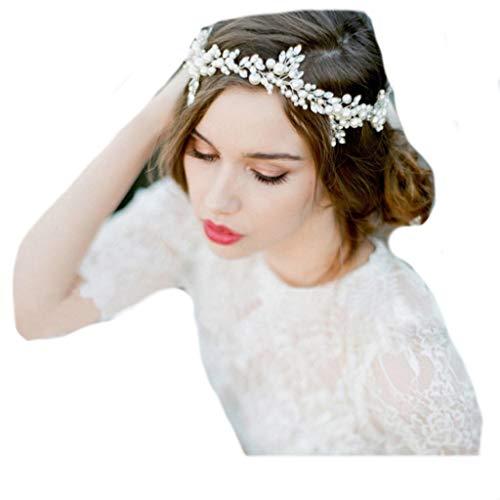 Vintage Haarschmuck, Hochzeit, Kristall elegant Braut Retrostil Haarband Diadem Haarschmuck klar, Perlen, Satin Band, ivory, elfenbein, off white