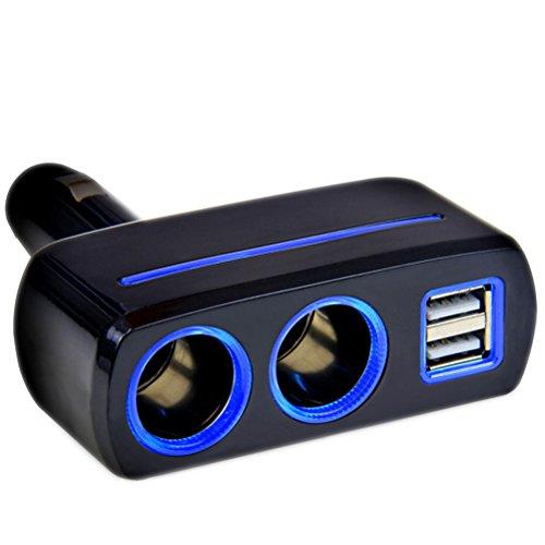 vorcool Dual USB Chargeur de voiture avec double allume-cigare (Noir)